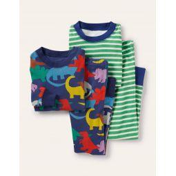 Cosy Twin Pack Long Pajamas - College Navy Rainbow Dinos