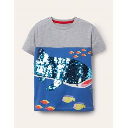 Animal Sequin T-shirt - Grey Marl Whale Shark