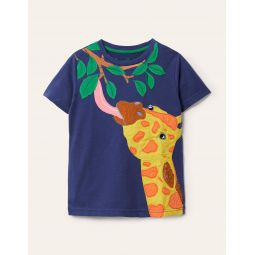 Wild Animal Applique T-shirt - Starboard Blue Giraffe