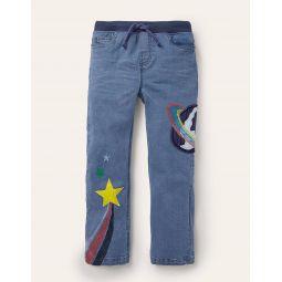 Applique Denim Pants - Mid Vintage Space