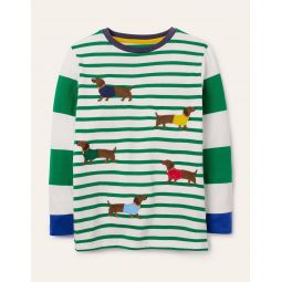 Applique Stripe T-shirt - Sapling Green Sausage Dogs