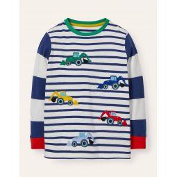 Applique Stripe T-shirt - College Navy Tractors