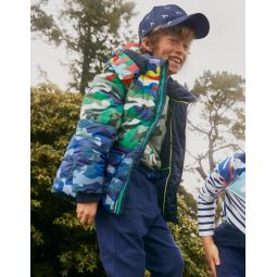 Cosy 2-in-1 Padded Jacket - Blues Colourblock Camouflage
