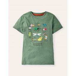 Graphic Animals T-shirt - Rosemary Green Bugs