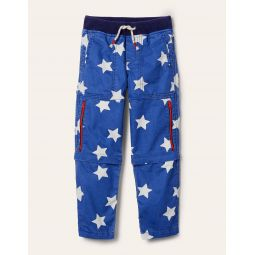 Zip-off Techno Pants - Venice Blue Stars