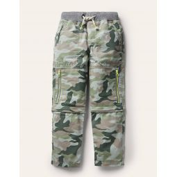Zip-off Techno Pants - Green Camouflage