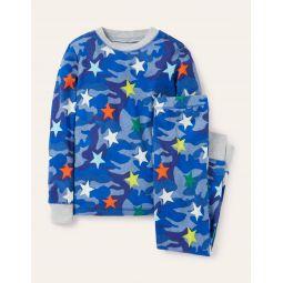 Glow-in-the-dark Long Pajamas - Blue Camouflage Rainbow Star