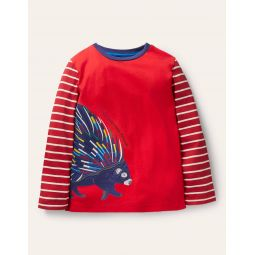 Wrap-around Applique T-shirt - Rockabilly Red Porcupine