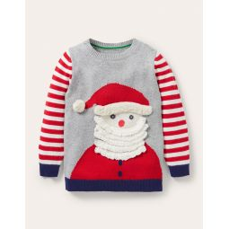 Festive Graphic Crew Sweater - Grey Marl Santa Claus
