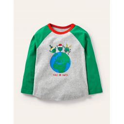 Festive Pun T-shirt - Grey Marl/Green Peas on Earth