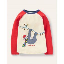 Festive Pun T-shirt - Ivory/Red Slow Ho-Ho