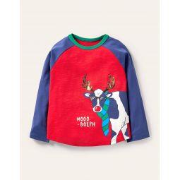 Festive Pun T-shirt - Rockabilly Red/Navy Moo-Dolph