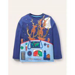 Christmas Deliveries T-shirt - Starboard Blue Santa Sleigh