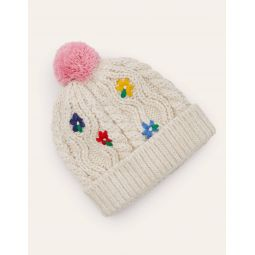 Embroidered Knitted Hat - Ecru Marl