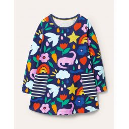 Printed Jersey Pocket Tunic - Starboard Blue Happy Dino