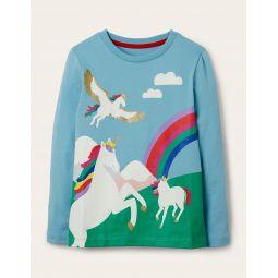 Scene Printed T-shirt - Frost Blue Unicorn