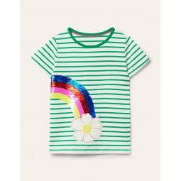 Sequin Colour-change T-shirt - Ivory/ Sapling Green Rainbow