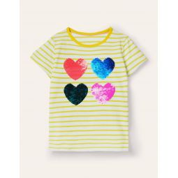 Sequin Colour-change T-shirt - Ivory/ Sweetcorn Yellow Hearts