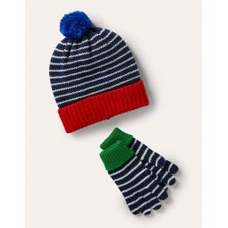 Knitted Striped Hat and Gloves - College Navy/Ivory