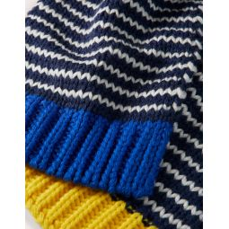 Knitted Striped Scarf - College Navy/Ivory