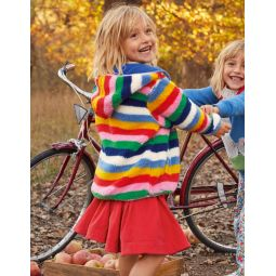 Cosy Reversible Fleece Hoodie - Blue Multi Stripe