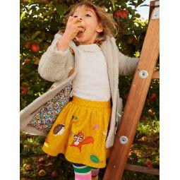 Cord Applique Skirt - Honeycomb Yellow Animals