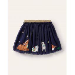 Applique Tulle Skirt - Starboard Blue Animals