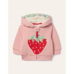 Applique Zip-up Hoodie - Boto Pink Strawberry