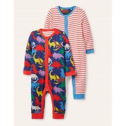 Jersey Twin Pack Rompers - Starboard Paintbox Dino