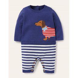 Sausage Dog Knitted Romper - Starboard Blue