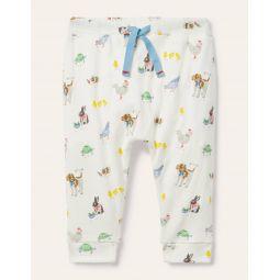 Organic Newborn Trousers - Ivory Pet Friends