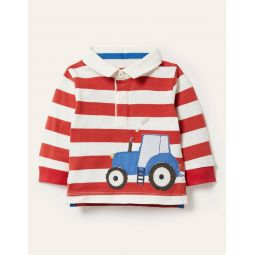 Stripy Applique Rugby Top - Ivory/Cherry Red Tractor