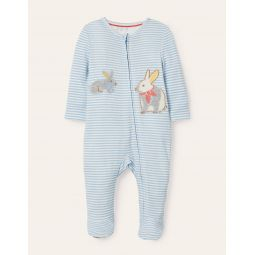 Organic Zip-up Sleepsuit - Frosted Blue/Ivory