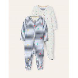 Organic Twin Pack Sleepsuit - Multi Stars