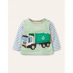 Lift-the-flap Vehicle T-shirt - Ivory/Sapling Green Vehicle