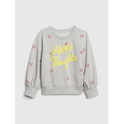 Toddler Graphic Print Puff-Sleeve Sweatshirt
