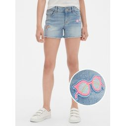 Kids Embroidered Patch Shortie Shorts
