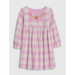 Toddler Plaid Embroidered Dress