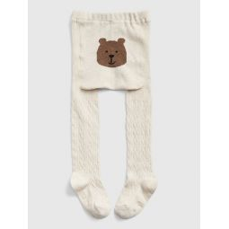 Toddler Bear Cable-Knit Tights