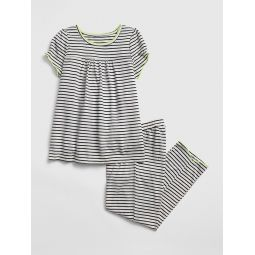Kids Stripe Puff-Sleeve PJ Set