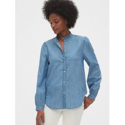 Denim Ruffle-Neck Shirt