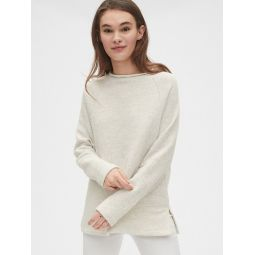 Textured Funnel-Neck Tunic Sweatshirt