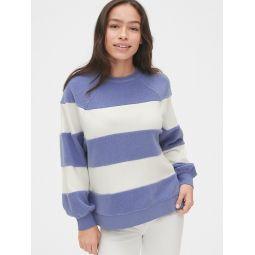 Textured Stripe Raglan Crewneck Sweatshirt