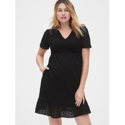 Maternity Eyelet V-Neck Dress