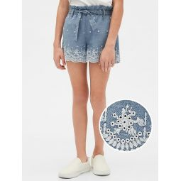 Kids Tie-Belt Eyelet Shorts