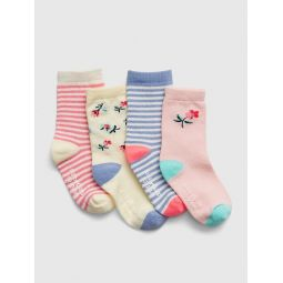 Toddler Floral Stripe Crew Socks (4-Pack)