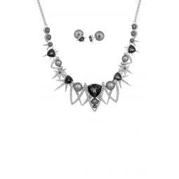 Fantastic Rhodium Plated Pave Swarovski Crystal & Simulated Pearl Geo Stud Earrings & Pendant Necklace Set