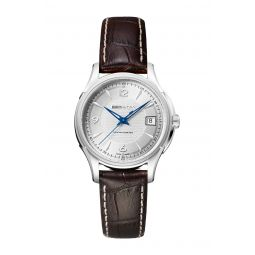 Mens Jazzmaster Swiss Automatic Croc Embossed Leather Strap Watch, 37mm