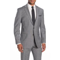 Light Grey Plaid Two Button Notch Lapel Regent Fit Suit Separates Jacket