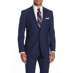 Dark Blue Plaid Two Button Notch Lapel Regent Fit Suit Separates Jacket